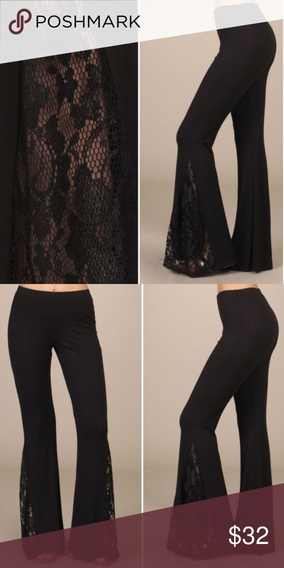 Lacey Black Lace Pants Aaamazing  So soft, lace bottoms, just perfect! Made in USA. Price is firm. No trades or pp. Pants