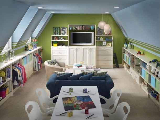 Ideas for the bonus room.  Love the painted ceiling and the dress-up storage!