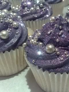 Purple pearl cupcakes...Link does not go any place but they are pretty.  You can buy the sugar pearls and use food coloring to make purple.  I have a pic pinned on how to make Sugar Glitter...Look in Crafting board for that