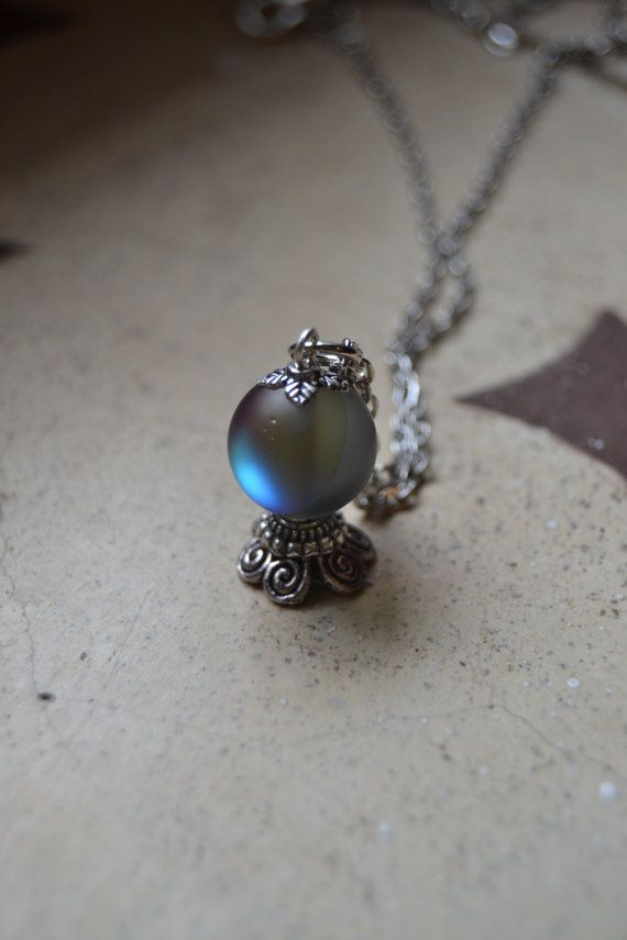 Stunning multicolor iridescent gypsy Fortune teller´s magic crystal ball necklace by Valkyrie´s Song