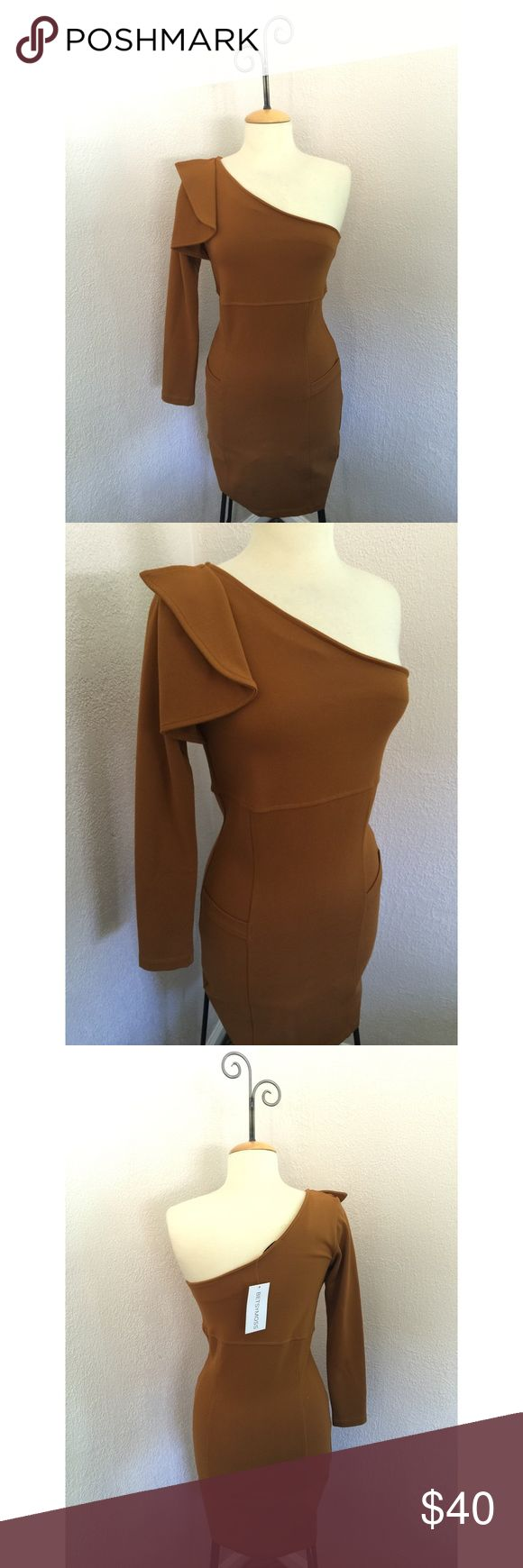 NWT Betsy Moss Camel Brown One Sleeve Dress Size M New with tags! Camel brown colored dress by Betsy moss, sexy one sleeve look, size M betsy moss Dresses One Shoulder