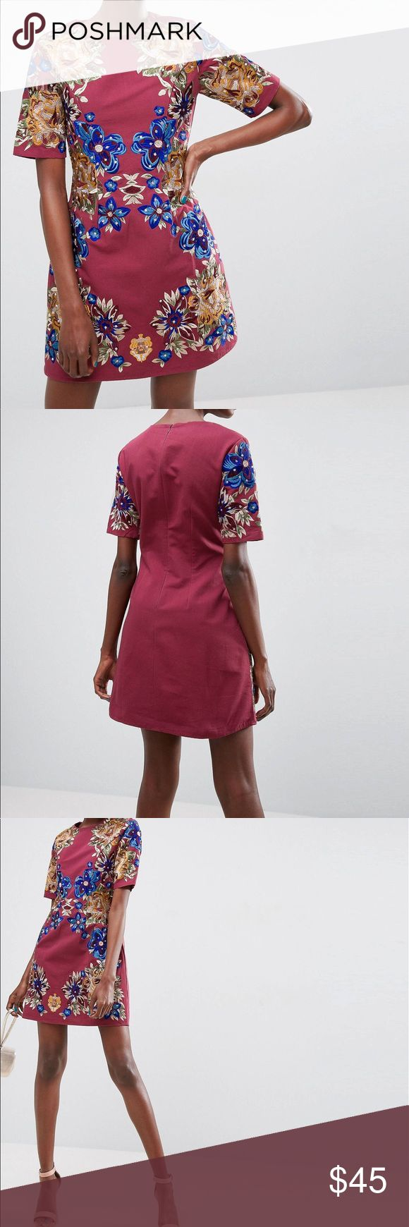 ASOS Premium Embroidered Shift Mini Dress Oxblood, embroidered mini dress! The colors and quality are amazing. I am a 34 DD/E and it doesn't look flattering on my chest. It's such a pretty dress and I'm past my return date. Never worn!!! I bought for $135. It's on sale now, so I'll sell for even less! Asos Dresses Mini