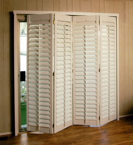 wood shutters for sliding patio door Basement floor s Pinterest