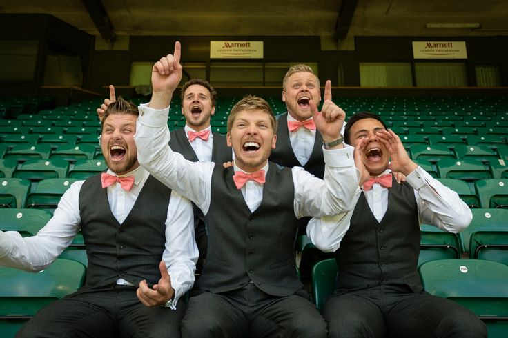 The Groom and his Groomsmen pitch-side at Twickenham Stadium - Wedding Venue London