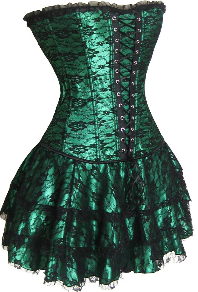 2162 Green Corset Skirt Set (Original Price: $108.95) [2162 Green] - $32.95 : Best-lingerieline