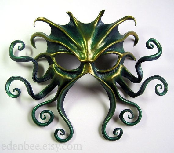 Large Cthulhu leather mask, hand-painted in midnight blue, green, and gold