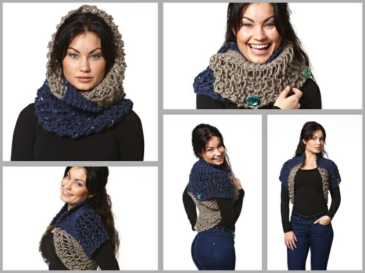Varmeværk - cowl. Knitted with drop stitch. Can also be worn as a little top, open or closed in the back.