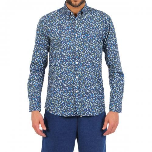BLUE COTTON SHIRT WITH FLORAL PRINT Blue cotton shirt with flower pattern and chest pocket. Long sleeves, buttoned cuffs. Buttoned collar. Front button closure. COMPOSITION: 100% COTTON. Model wears size L, he is 189 cm tall and weighs 86 Kg.