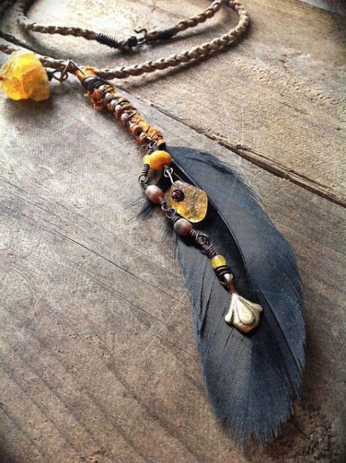☮ American Hippie Bohéme Boho Style Jewelry ☮ Feather Necklace