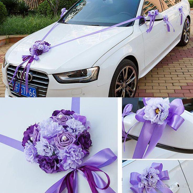 Flower Wedding Car Decorations : Car ribbon married decorations bridal decoration wedding