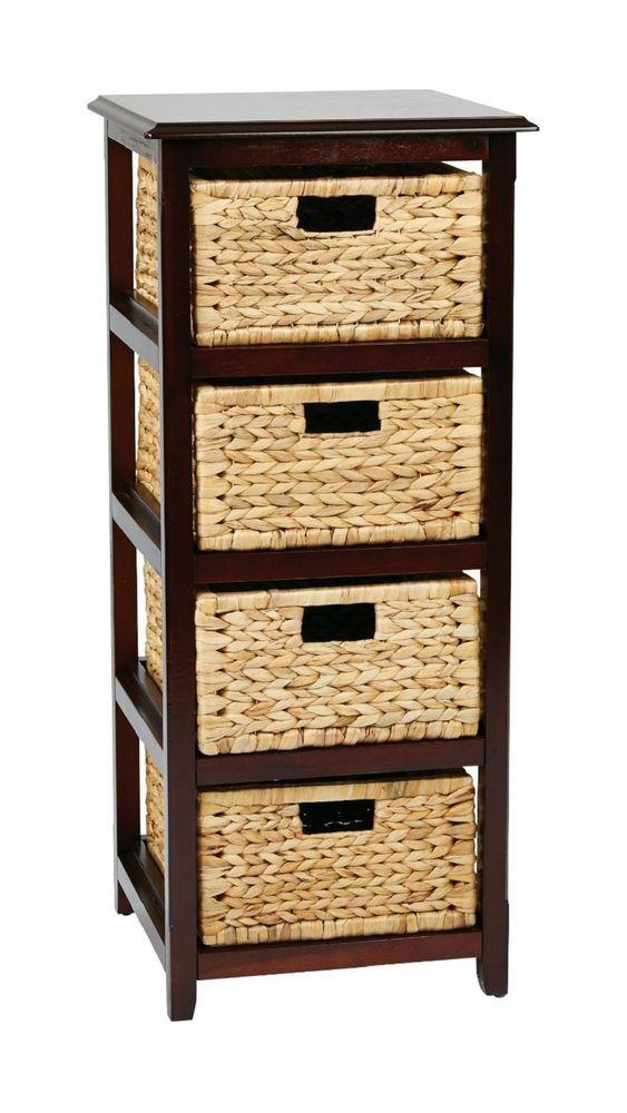 Wicker Side End Table Nightstand Bedside Espresso Furniture 4 Tier Storage Unit…