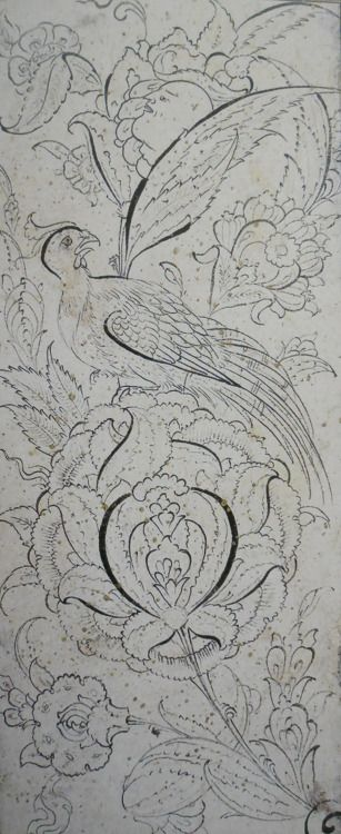 istanbulwalkingzemi:  Drawing of a peony and a bird, signed by Veli Can. 16th Century