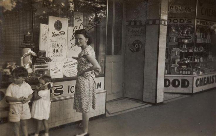 Mother, Boy & Girl Looking in Milk Bar Front Windows, Moonee Ponds, Melbourne victoria Australia 1949