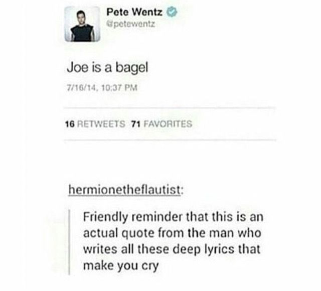 (pretty sure he deleted this after Joe mentioned how he didn't appreciate the bagel jokes)