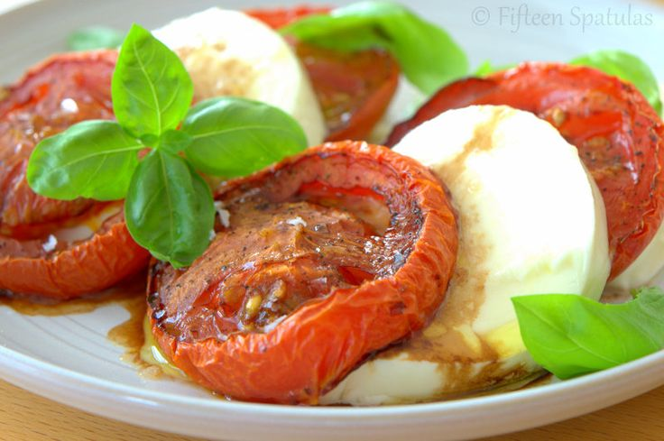 Stuck with some not-so-stellar tomatoes? Roast them to intensify their flavors, and pair with mozzarella and basil for a summery caprese salad!