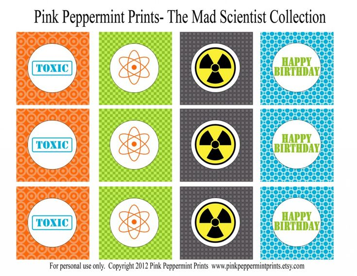 mad science 2 inch printable party circles party tags cupcake toppersmad science party scientist party printable invitations blue green and orange party boy birthday party ideas tammy mitchell designs pink peppermint prints