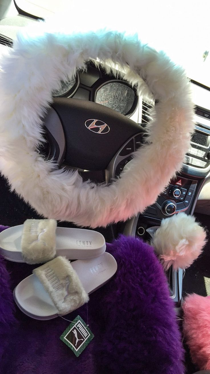 Fur Lit Fluffy Steering Wheel Covers Set