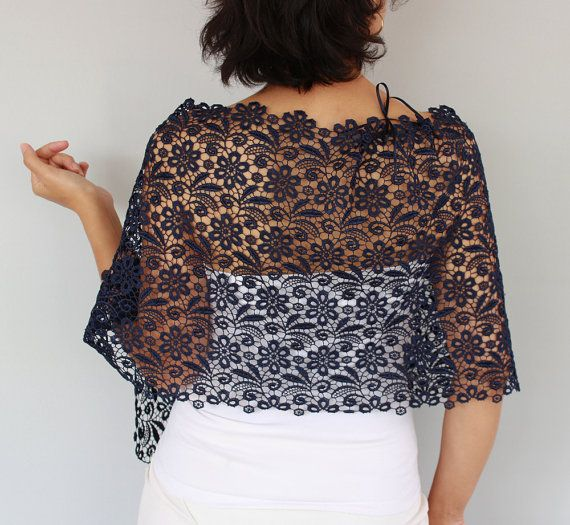 This lace stole is made of ultramarine (dark navy blue) cotton lace fabric.  Its tied with satin ribbon lacings, which gie it an air romantic. Beside these wide ribbons, also thin ribbons were added inside part of the stole, to get a neat look.  Also a thin ribbon is added to the neck part for any shoulder size adjustment.  This modern bridal shrug with satin ribbon lacings, you can create your own style with this complementary accessory having such a modern, minimal yet rich look.    Its my…