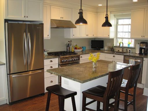 Small l shaped kitchen designs with island google search for Kitchen ideas no island