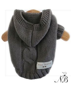 Dark Grey Dog Hoodie Sweater - This luxury hand knit dog hoodie sweater is so beautiful even you will want to wear it! It makes your dog look cute and protects your house from dog hair. Cozy cable knit, soft, thick knit with stretch.