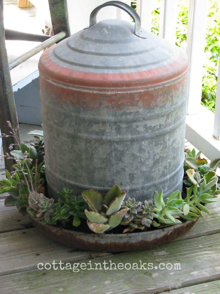 Chicken Feeder Flower Pots - vintage minnow buckets also make great planters.