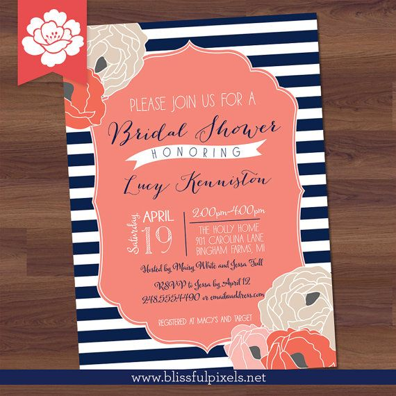 107 best navy and pink bridal or baby shower images on pinterest bridal shower invitation bold stripe floral by blissfulpixels 1699 filmwisefo Image collections