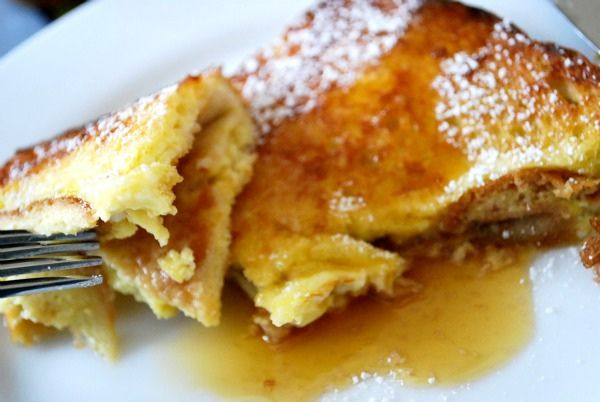 Peanut Butter and Condensed Milk French Toast using this French toast recipe: http://www.epicurious.com/recipes/food/views/Overnight-French-Toast-2083 (plus the directions to add PB and condensed milk from the image's link)