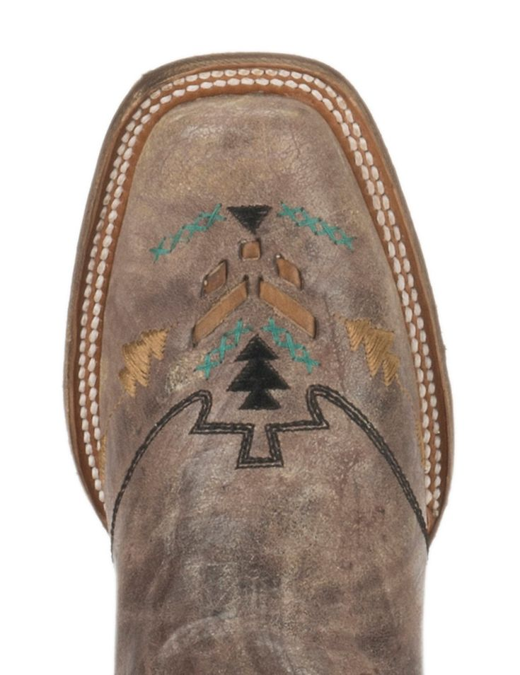Corral Boot Company Women's Vintage Tobacco with Woven Aztec Design Square Toe Western Boots | Cavender's