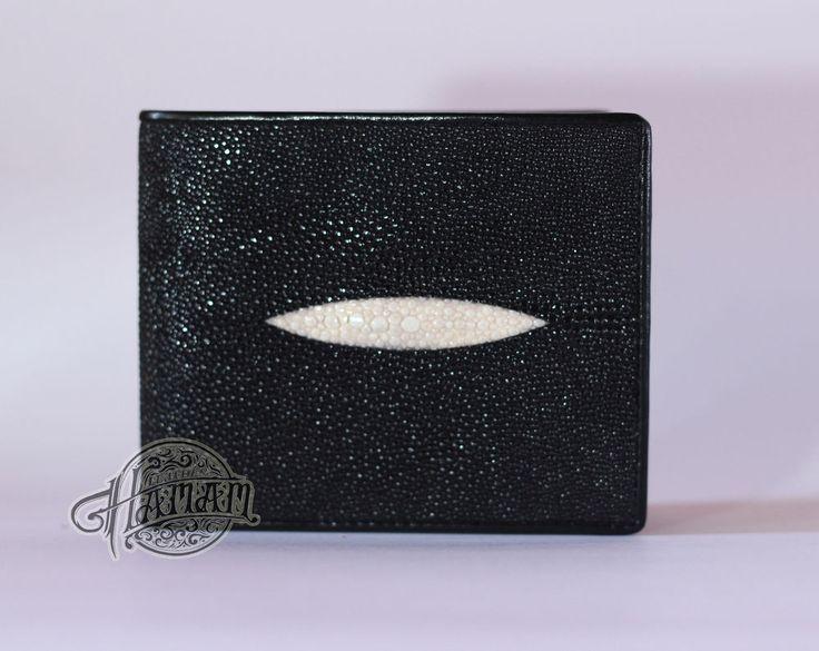 Genuine Real Stingray Skin Leather Mens Wallet Bifold Super Grade Black Purse #Bifold