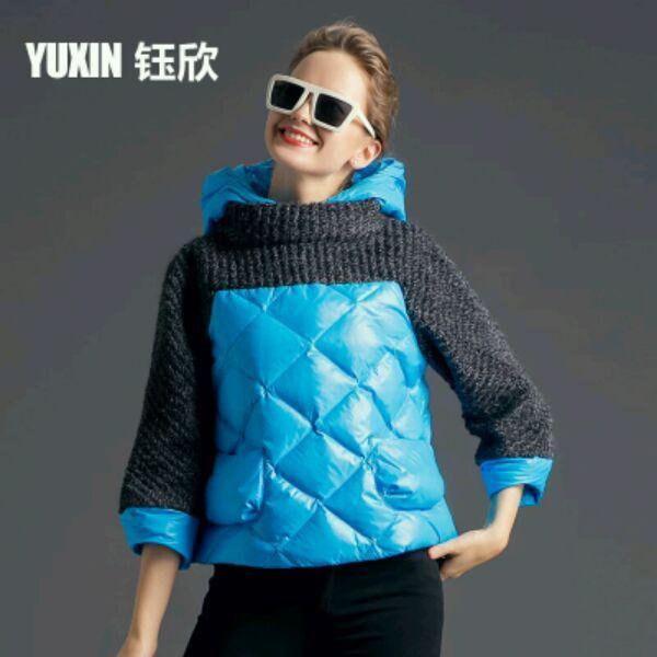 Yu Xin 2015 новый корейский хит цвет сшивание толстые пуховик женщин короткий параграф Тонкий мыс пальто прилив 77693