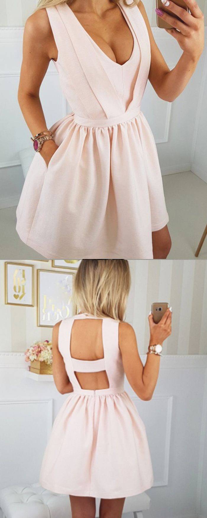 Scoop pearl pink satin simple homecoming dress with pockets hd