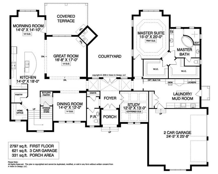 41 best house plans images on pinterest floor plans for Rear master bedroom house plans