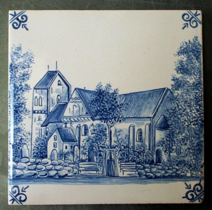 malowana kobaltem kopia zabytkowego kafla, Danuta Rożnowska-Borys  -BorysArt