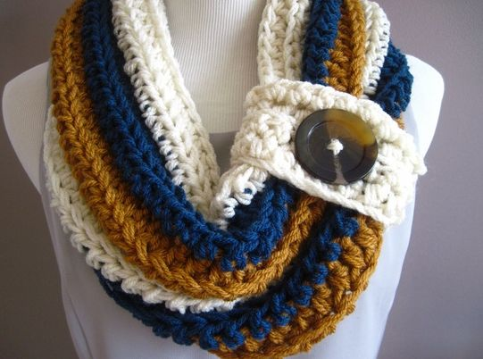 I've seen versions of these now a few times and I really do love the look, and though this particular scarf doesn't come with a pattern,  they seem pretty basic to figure out. Hmm, I can think of a few people that would like one for Christmas :)