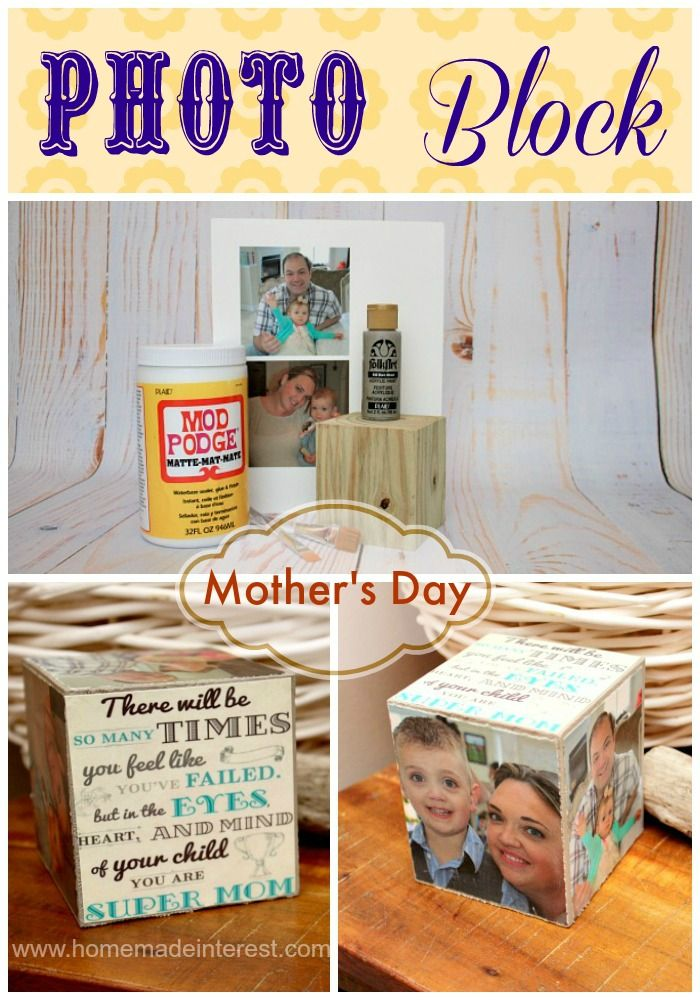 A Mother's Day gift idea. Family photo block tutorial {www.homemadeinterest.com}