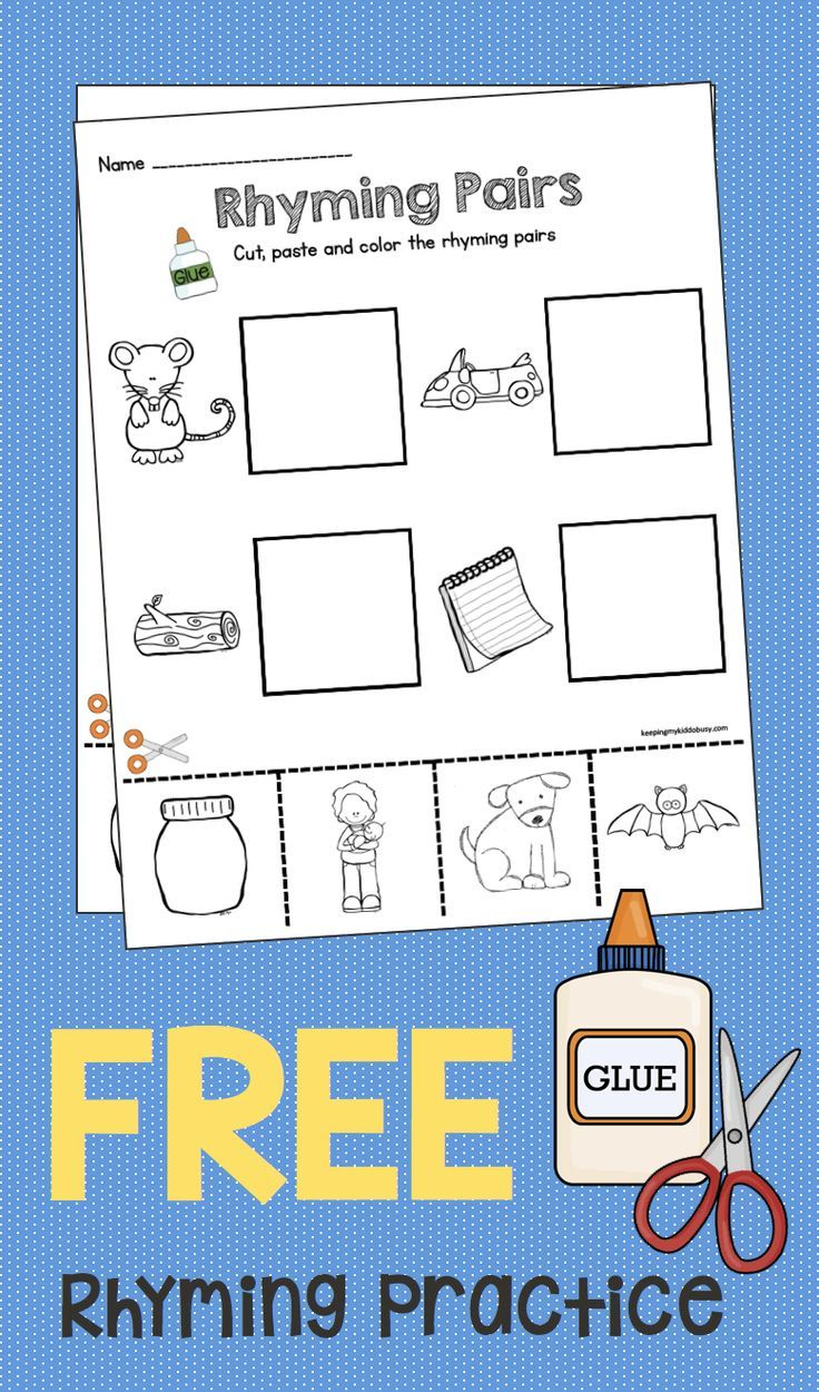 Pin On Rhyming - 17+ Free Printable Rhyming Worksheets For Kindergarten Cut And Paste Gif