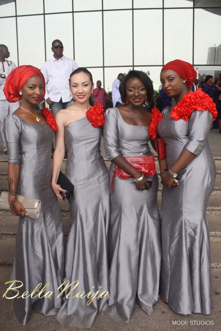 African bridal party greys with a pop wedded bliss...or
