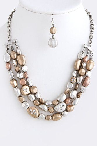 """Antique Multi Color Layered Stone Chain Necklace - Antique Multi Color Collar Layered Stone Necklace StarShine Jewelry. $18.20. Length approx 18"""". Lobster claw clasp with 3"""" extender. Lead and nickel safe. Layered stone chain necklace"""