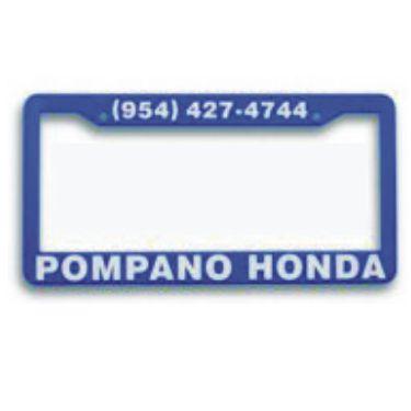 california style blue custom auto frames blue plastic printed car frames w custom printed text blue promotional license plate frames 4 dealership