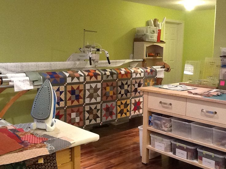 Quilting Room Design Ideas Part - 30: The Back Wall Of My Quilting Studio With My TinLizzie I Spend A Lot Of Time  Here!