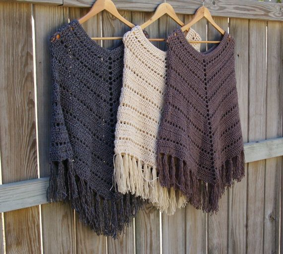 Boho Poncho Crochet Poncho Western Poncho in by CandacesCloset