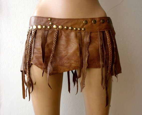 Dream Warriors brown leather mini skirt /loincloth/hip belt. Fringe, braids, brass studs. Tribal fusion pagan barbarian wiccan druid cosplay