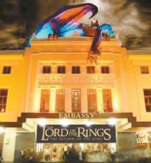 The Embassy Theatre, a historic building in Wellington, was restored to host the premieres of The Lord of the Rings films.