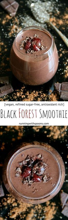 Black Forest Smoothie -- naturally sweet and loaded with antioxidants. You'd never believe it's super healthy! || http://runningwithspoons.com /search/?q=%23vegan&rs=hashtag /explore/healthy/