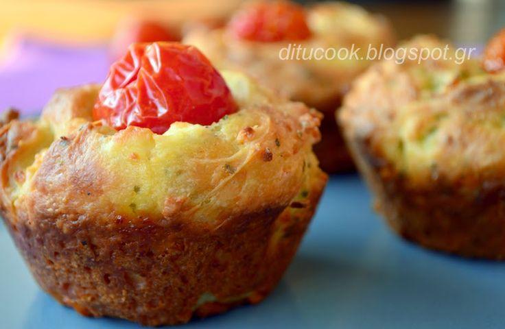 Muffins με φέτα και ντοματίνια