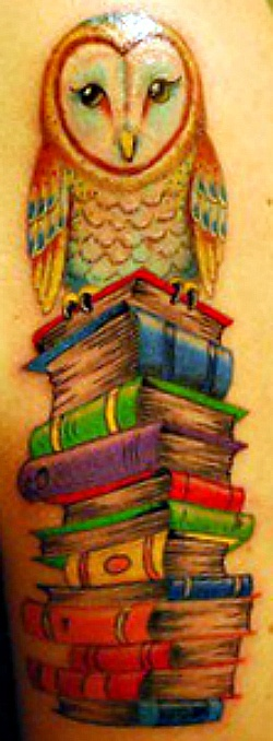 Tattoo of an owl on stack of books: Tattoo Ideas, Books Stacking Tattoo, Books Owl Tattoo, Owl On Books Tattoo, Stacking Of Books, Books Owltattoo, Owl Tattoos, Fantasy Tattoo, Owl Books Tattoo