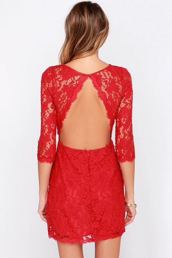 red backless lace dress