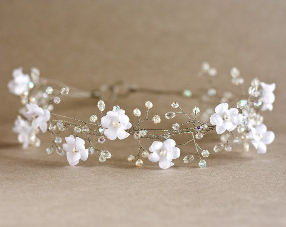 Floral headband. Bridal hair accessories, Woodland wedding, Wedding pearl crown, Bridal silver wreath, crystals, Bride hair piece.. $85,00, via Etsy.