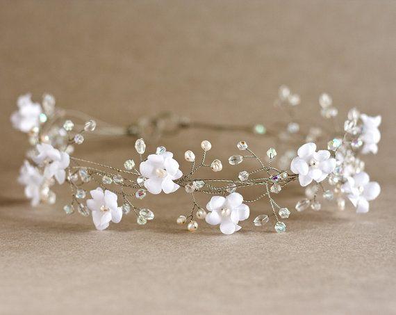 Floral headband. Bridal hair accessories, Woodland wedding, Wedding pearl crown, Bridal silver wreath, crystals, Bride hair piece.. $85,00, via Etsy.