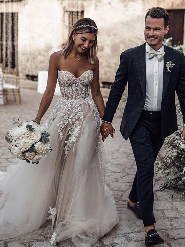 A Line Princess Tulle Applique Sweetheart Sleeveless Sweep Brush Train Wedding Dresses In 2020 Sweep Train Wedding Dress Wedding Dresses Wedding Dresses Beaded